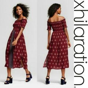 Xhilaration Smocked Top Berry Floral Midi Dress